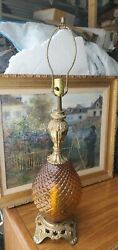 Vintage Mid Century Brass Lamp Ef And Ef Industries Pineapple Shape Amber Glass