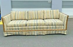 Vintage 1970's Textured Fabric 3 Seat Sofa Couch Wood Frame Most Likely Selig
