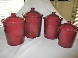 4pc Fiesta Hlc Canister Set + 4 Lids Rare Claret Wine Homer Laughlin China Co