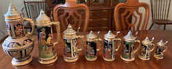 Antique Gerz West Germany Hand Painted Beer Steins - 8 Piece Set