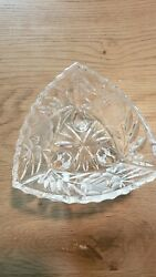 Vintage Cut Crystal Rose Triangle Footed Candy Dish