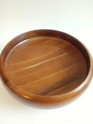 Brown Solid Wood Pedestal Fruit Bowl Dining Room Mcm Kitchen Ith96
