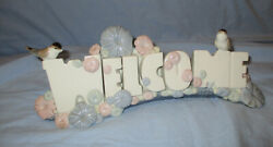 Porcelain Welcome Sign - Block Letters + Birds By Nao / Lladro - 1985 Daisa-