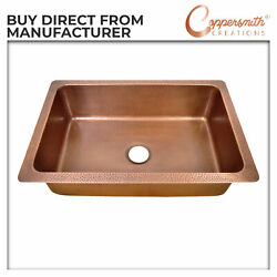 Single Bowl Single Wall Copper Kitchen Sink Hammered Antique