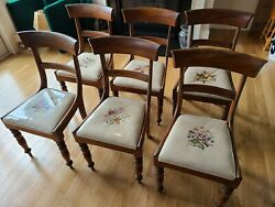 Set Of 6 Antique William Lv Mahogany Needlepoint Dining Chairs