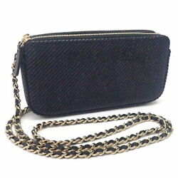 Fasteners Chain Wallet Deauville A81978 Navy Go _72696