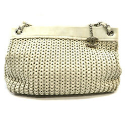 A28002 Chain Shoulder Bag Caviar Skin Mesh White System Secondhand _71560