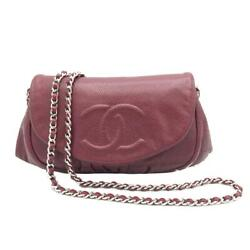 Chain Wallet Shoulder Bag Red System Caviar Skin Rank Secondhand _71311