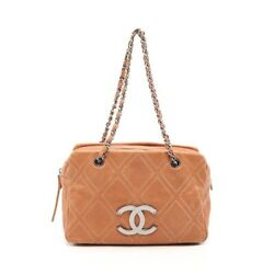 Chain Shoulder Bag Razor Light Brown Stitch Silver Fittings Second _71485