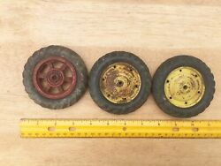 Toy Tractor Vehicle Wheel Part Lot 3 Yellow Red Metal Rubber Tire 3 1/2 Vintage