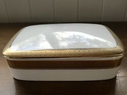 Mikasa Palatial Gold Rectangular Covered Candy Dish Or Trinket Box With Lid