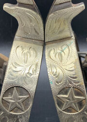 Vintage Silver Inlay And Banded Spurs Mexico Antique Western Rodeo With Leathers