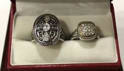 2 Silver Plate Cz Pave Cluster Artisan Bali Wheat Scroll Heart Ring Lot 8 And 9