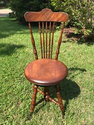 Antique Vtg Victorian Piano Organ High Back Wooden Chair Stool Glass Claw Feet