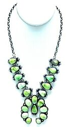 Navajo Sterling Silver Sonoran Gold Turquoise Handmade Necklace - Skeets
