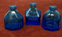 Set Of 3 Wheaton Glass New Jersey Blue Glass Bottles Inkwell School Cathedral