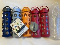 Life Factory Glass Water Bottles 22oz Bpa-free Extra Caps Lot Of 5/6 Lifefactory