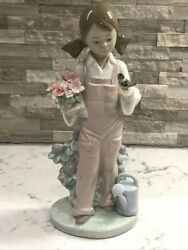Vintage Lladro Figurine Spring 5217 Girl W/flowers Bird And Water Can Darling
