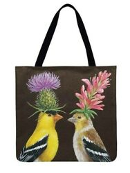 Women Brown Tote Bags Painting Two Birds With Flowers On Their Heads Print $19.99