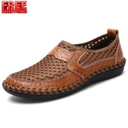 Menand039s Driving Slip On Loafers Flats Leather Mesh Breathable Casual Boat Shoes Us