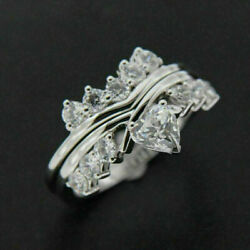 10k White Gold 1.30 Ct Heart And Round Cut Diamond Engagement Bridal Ring Set