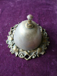 Antique Decorative Brass Desk Bell, Nice Sound And Working Order