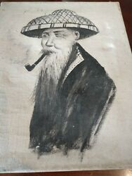 Antique Oil Painting Old Asian Man Smoking Pipe Straw Hat Black White Canvas 5x7