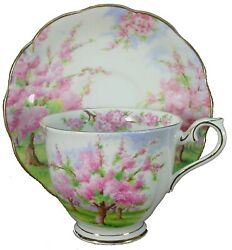 Royal Albert China Blossom Time Pattern Cup And Saucer Set - 2-3/4