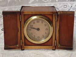 Antique Unusual Travel Carriage Clock In Mahogany Casing Doors To Front