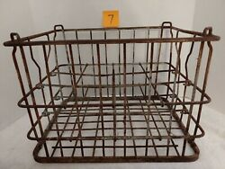 Vintage 1950 Very Heavy Strapped Steel 12 Milk Bottle Crate Caddy Lot Of Rust