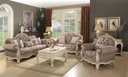 Acme Furniture Ragenardus Sofa And Loveseat Gray Fabric And Antique White