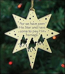 Religious Gifts For We Have Seen His Star Brass Christmas Tree Ornament 2 1/2...