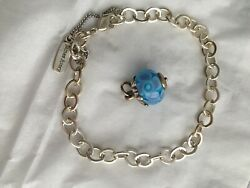 Retired James Avery Winter Snowflake Finial Glass Charm And Bracelet - Never Worn