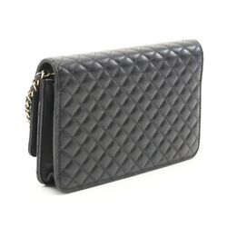 Micromatrasse Chain Wallet Lambskin Black Gold Fittings Secondhand _75262