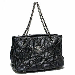 Ultra Stitch Rope Quilting Chain Shoulder Bag Vintage Leather Blac _73108