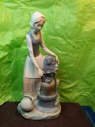 Large Spanish Porcelain Lladro Nao Porcelain Figurine Lady By Water Fountain