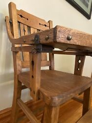 Antique Original Oak Arts And Crafts High Chair Perfect Condition Style Design