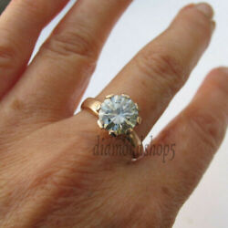 1.6 Ct Round Cut Grey Moissanite Antique Engagement Ring 10k Solid Yellow Gold 7