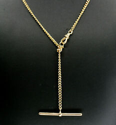 Antique And Co Solid 14k Gold Watch Chain Necklace With T Bar