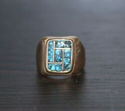 Old Pawn Navajo Bittsoll Russell 14k Gold Turquoise Ring Musuem Piece