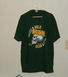 Green Bay Packers Inspired Straight Skull Cheese Head Sm To 5x Black Tee New