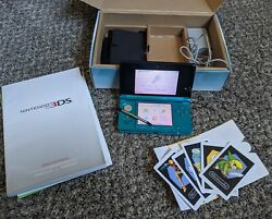 Nintendo 3ds Console - Aqua Blue - Complete In Box - Charger/stylus/dock/manuals