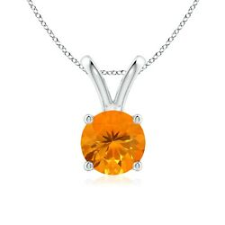 0.81ctw V-bale Round Fire Opal Solitaire Pendant In Silver/gold/platinum