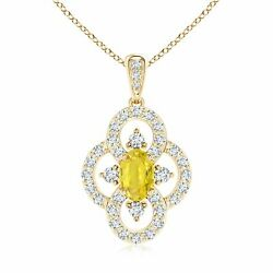 0.97ctw Vintage Style Yellow Sapphire And Diamond Clover Pendant In Gold/platinum