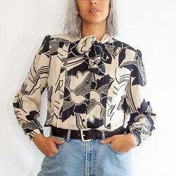 80s Silk Abstract Floral Blouse 14 L Large / Oversized Blouse / Silk Secretary B