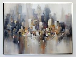 Mid Century Modern Framed Acrylic Painting Canvas Signed Wilfred 1970s Cityscape