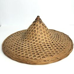 """Vintage 17"""" Asian Conical Rice Paddy Farmer Work Sedge Hat - Straw Palm Bamboo"""
