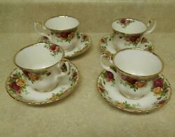 Royal Albert Old Country Roses Tea Cup And Saucer Set - 4 Cups And Saucers 1962