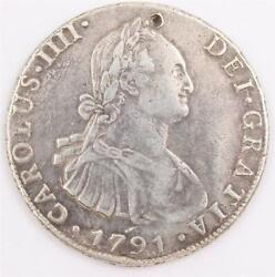 1791 Bolivia 8 Reales Silver Coin Potosi Pr Km73 Vf Details Damaged Small Hole