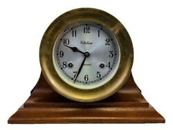 Chelsea Brass 4-1/2 Shipstrike Ship's Bell Brass Clock On Traditional Wood Base